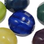 Beads xham porcelani, Kthesë, xham, ngjyra të përziera, 16.50x17mm, : 3-3.5mm, 60PC/Qese,  Qese
