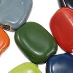 Beads xham porcelani, Drejtkëndësh, xham, ngjyra të përziera, 15x20x8mm, : 4mm, 95PC/Qese,  Qese