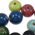 Beads xham porcelani, Round, xham, ngjyra të përziera, 9.5-10.5mm, : 2-2.5mm, 250PC/Qese,  Qese