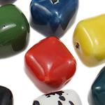Beads xham porcelani, Diamant, xham, ngjyra të përziera, 16.50x17mm, : 2.2-2.6mm, 50PC/Qese,  Qese