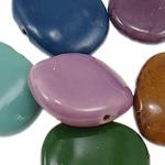 Beads xham porcelani, Round Flat, xham, ngjyra të përziera, 28.50x34.50x10mm, : 3.5mm, 40PC/Qese,  Qese