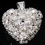 Tunxh, Zemër, Ngjyra argjend praruar, me diamant i rremë, asnjë, , nikel çojë \x26amp; kadmium falas, 21x22.50x15mm, : 4x6mm, 10PC/Qese,  Qese