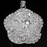 Pendants tunxh, Lule, Ngjyra argjend praruar, me diamant i rremë, asnjë, , nikel çojë \x26amp; kadmium falas, 33x37x13mm, : 4x6mm, 10PC/Qese,  Qese