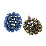 Një palë vathë Zink Alloy, Alloy zink, with ABS plastike, Oval, asnjë, me rrëshirë diamant i rremë, ngjyra të përziera, , nikel çojë \x26amp; kadmium falas, 25x27.50mm, 4Çiftet/Shumë,  Shumë