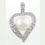 Pendants Pearl ujërave të ëmbla, Pearl kulturuar ujërave të ëmbla, Zemër, natyror, e bardhë, 15x24x10mm, : 3.2x4.3mm, 20PC/Qese,  Qese