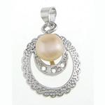 Pendants Pearl ujërave të ëmbla, Pearl kulturuar ujërave të ëmbla, natyror, rozë, 15.50x20.50x7.50mm, : 4x4mm, 20PC/Qese,  Qese
