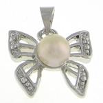 Pendants Pearl ujërave të ëmbla, Pearl kulturuar ujërave të ëmbla, Flutur, natyror, e bardhë, 16x15x6.70mm, : 4x4mm, 20PC/Qese,  Qese