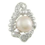 Pendants Pearl ujërave të ëmbla, Pearl kulturuar ujërave të ëmbla, natyror, e bardhë, 15x21.80x8.80mm, : 2x5mm, 20PC/Qese,  Qese