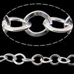 Zinxhiri Iron Oval, Hekur, Ngjyra argjend praruar, asnjë, , nikel çojë \x26amp; kadmium falas, 7.30x6.50x1.20mm, :50m,  PC