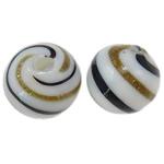 Mundgeblasene Lampwork Perlen, rund, Goldsand, 12mm, Bohrung:ca. 1.5-2.2mm, 50PCs/Tasche, verkauft von Tasche