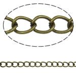 Twist Hekuri Oval Zinxhiri, Ngjyra antike bronz i praruar, asnjë, , nikel çojë \x26amp; kadmium falas, 7x5.50x1mm, :50m,  PC
