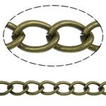 Twist Hekuri Oval Zinxhiri, Ngjyra antike bronz i praruar, asnjë, , nikel çojë \x26amp; kadmium falas, 8.80x6x1.40mm, :25m,  PC