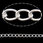 Twist Hekuri Oval Zinxhiri, Ngjyra argjend praruar, asnjë, , nikel çojë \x26amp; kadmium falas, 5x7x1.20mm, :50m,  PC