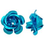Beads bizhuteri alumini, Lule, pikturë, blu, 15x15x9mm, : 1.5mm, 950PC/Qese,  Qese