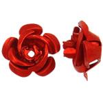 Beads bizhuteri alumini, Lule, pikturë, i kuq, 15x15x9mm, : 1.5mm, 950PC/Qese,  Qese