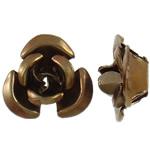 Beads bizhuteri alumini, Lule, pikturë, ngjyrë kafe, 8x8.50x5mm, : 1.1mm, 950PC/Qese,  Qese
