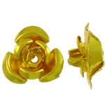 Aluminium-Lackschnitzerei, Aluminium, Blume, Spritzlackierung, Goldfarbe, 12x11.50x6mm, Bohrung:ca. 1.3mm, 950PCs/Tasche, verkauft von Tasche