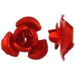 Beads bizhuteri alumini, Lule, pikturë, i kuq, 12x11.50x6mm, : 1.3mm, 950PC/Qese,  Qese