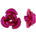 Beads bizhuteri alumini, Lule, pikturë, Pink fuchsia, 8x8.50x5mm, : 1.1mm, 950PC/Qese,  Qese