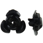Beads bizhuteri alumini, Lule, pikturë, e zezë, 12x11.50x6mm, : 1.3mm, 950PC/Qese,  Qese