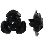 Aluminium-Lackschnitzerei, Aluminium, Blume, Spritzlackierung, schwarz, 6x7x4mm, Bohrung:ca. 1mm, 950PCs/Tasche, verkauft von Tasche