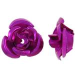Beads bizhuteri alumini, Lule, pikturë, Pink fuchsia, 12x11.50x6mm, : 1.3mm, 950PC/Qese,  Qese