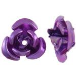 Beads bizhuteri alumini, Lule, pikturë, vjollcë, 12x11.50x6mm, : 1.3mm, 950PC/Qese,  Qese