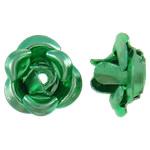 Beads bizhuteri alumini, Lule, pikturë, e gjelbër, 6x7x4mm, : 1mm, 950PC/Qese,  Qese