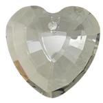 Swarovski Crystal Pendants, Zemër, Silver shampanjë, 33x32x13mm, : 3mm,  PC