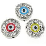 Alloy zink Beads diamant i rremë, Monedhë, asnjë, me diamant i rremë, ngjyra të përziera, , nikel çojë \x26amp; kadmium falas, 12x12x5mm, : 1.5mm, 100PC/Qese,  Qese