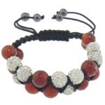 Shamballa Bracelets gur i çmuar, Red agat, with Argjilë & Cord najlon & Jo-magnetike kuqe e mbylltë, faceted & me diamant i rremë, 10mm, 8mm, :6-10.5Inç, 10Fillesat/Shumë,  Shumë