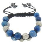 Shamballa Bracelets gur i çmuar, Blue agat, with Argjilë & Cord najlon & Jo-magnetike kuqe e mbylltë, faceted & me diamant i rremë, 10mm, 8mm, :6-10.5Inç, 10Fillesat/Shumë,  Shumë