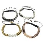 Tunxh Shamballa Bracelets, with Argjilë & Diamant i rremë & Tunxh, Shape Tjera, ngjyra të përziera, , nikel çojë \x26amp; kadmium falas, 8mm, 2x5mm, :6-10Inç, 10Fillesat/Shumë,  Shumë