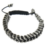 Tunxh Shamballa Bracelets, with Diamant i rremë & Tunxh, Shape Tjera, me diamant i rremë, e zezë, , nikel çojë \x26amp; kadmium falas, 2x5mm, : 6Inç, 10Fillesat/Shumë,  Shumë