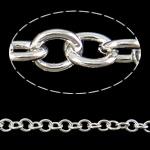 Zinxhiri Iron Oval, Hekur, Ngjyra argjend praruar, asnjë, , nikel çojë \x26amp; kadmium falas, 6x1.20mm, :50m,  PC