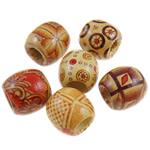 Beads druri, Daulle, shtypje, ngjyra të përziera, 15x16mm, 16x17mm, : 8mm, 12Çanta/Shumë,  Shumë