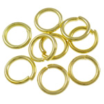 Iron Mbyllur Ring Jump, Hekur, Petull e ëmbël në formë gjevreku, ngjyrë ari praruar, asnjë, , nikel çojë \x26amp; kadmium falas, 0.90x6mm, : 4.4mm, 11600PC/Qese,  Qese