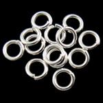 Iron Mbyllur Ring Jump, Hekur, Petull e ëmbël në formë gjevreku, Ngjyra argjend praruar, asnjë, , nikel çojë \x26amp; kadmium falas, 1x5mm, : 3.5mm, 14900PC/Qese,  Qese