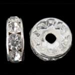 Ndarësit diamant i rremë, Petull e ëmbël në formë gjevreku, Ngjyra argjend praruar, Kristal, 6x6x3mm, : 1.2mm, 1000PC/Qese,  Qese