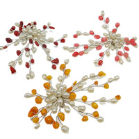 Natural Freshwater Pearl Brooch, flower, handmade, mixed color, approx 80x65mm, Sold by PC