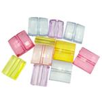 Beads transparente akrilik, Drejtkëndësh, i tejdukshëm, ngjyra të përziera, 18x14x7mm, : 3mm, 5KG/Shumë,  Shumë