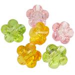 Beads transparente akrilik, Lule, i tejdukshëm, ngjyra të përziera, 23x14mm, : 3.5mm, 5KG/Shumë,  Shumë