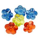 Beads transparente akrilik, Lule, i tejdukshëm, ngjyra të përziera, 23x14mm, : 3mm, 5KG/Shumë,  Shumë