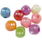 AB-ngjyra akrilik Beads kromuar, Kub, Ngjyra AB kromuar, ngjyra të forta, ngjyra të përziera, 12mm, : 4mm, 5KG/Shumë,  Shumë