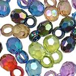 Pendants akrilik, Round, Ngjyra AB kromuar, i tejdukshëm, ngjyra të përziera, 13x7mm, : 3.5mm, 5KG/Shumë,  Shumë
