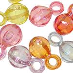 Pendants akrilik, Round, Ngjyra AB kromuar, i tejdukshëm, ngjyra të përziera, 15x9mm, : 3mm, 5KG/Shumë,  Shumë