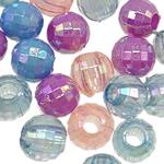 AB-ngjyra akrilik Beads kromuar, Round, Ngjyra AB kromuar, i tejdukshëm, ngjyra të përziera, 8mm, : 3mm, 5KG/Shumë,  Shumë