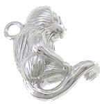 925 Sterling Silver varëse, Majmun, argjend praruar vërtetë, asnjë, asnjë, 15x17x8mm, : 1.5mm, 2PC/Qese,  Qese