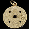 925 Sterling Silver varëse, Monedhë, ari praruar vërtetë, asnjë, asnjë, 17.50x17.50x1mm, : 3mm, 2PC/Qese,  Qese