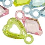 Pendants akrilik, Shape përziera, i përzier, ngjyra të përziera, 21x13x4.5--21x11x6mm, : 3.5mm, 5KG/Shumë,  Shumë